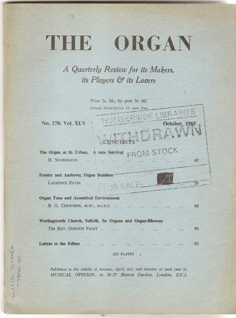 Image for The Organ - A Quarterly Review for its Makers, its Players and its Lovers - Volume XLV