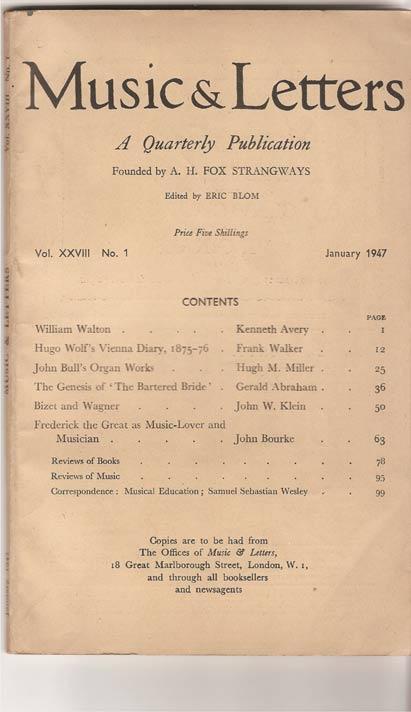 Music & Letters. A Quarterly Publication. Volume XXVIII