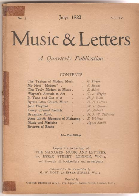 Image for Music & Letters. A Quarterly Publication. Volume IV