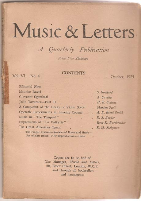 Image for Music & Letters. A Quarterly Publication. Volume VI