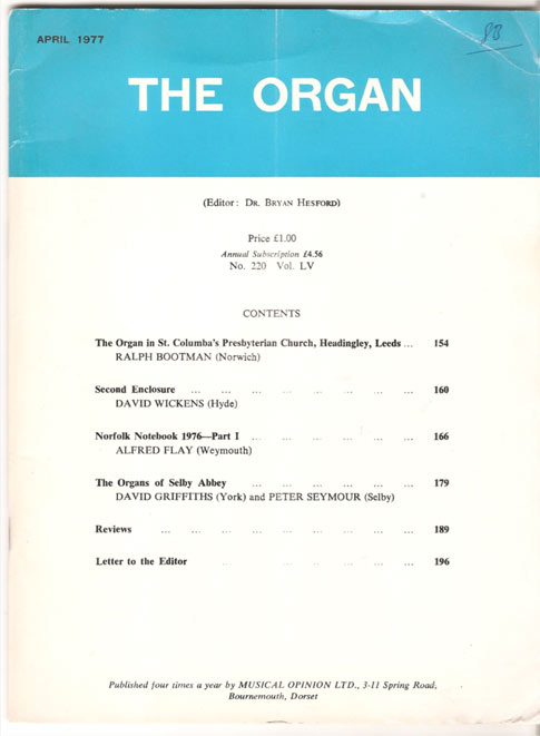 Image for The Organ: A Quarterly Review. Vol LV