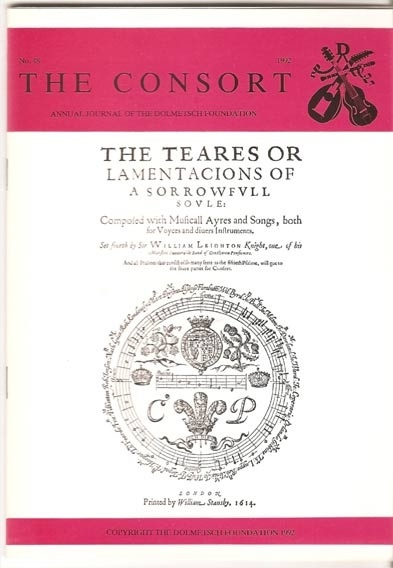 Image for The Consort: Annual Journal of the Dolmetsch Foundation Number 48 1992