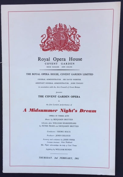 Image for Royal Opera House. Covent Garden. A Midsummer Night's Dream. Thursday 2nd February, 1961. Programme The First London Performance