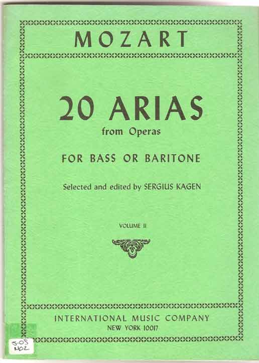 Image for 20 Arias from Operas - for Bass or Baritone Volume II