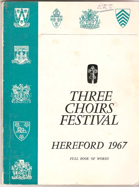 Image for Three Choirs Festival - Hereford 1967, 3rd - 8th September. Programme