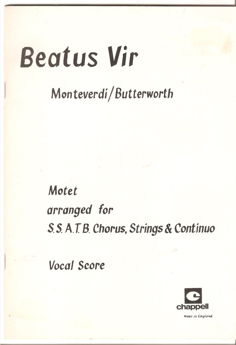 Image for Beatus Vir -  Motet  arranged for SSATB chorus, Strings and Continuo by Neil Butterworth.