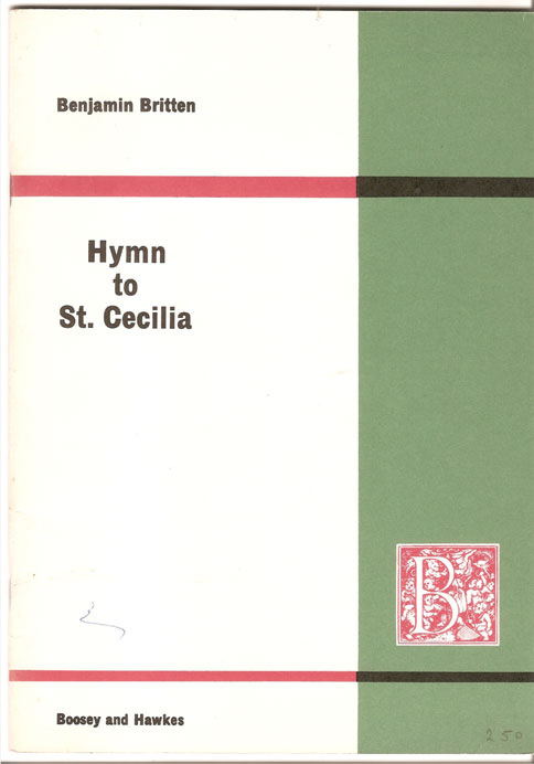 Image for Hymn to St. Cecilia for Unaccompanied Chorus, Words by W. H. Auden. Opus 27