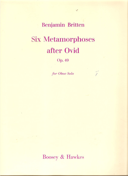 Image for Six Metamorphoses after Ovid for Oboe Solo. Op.49