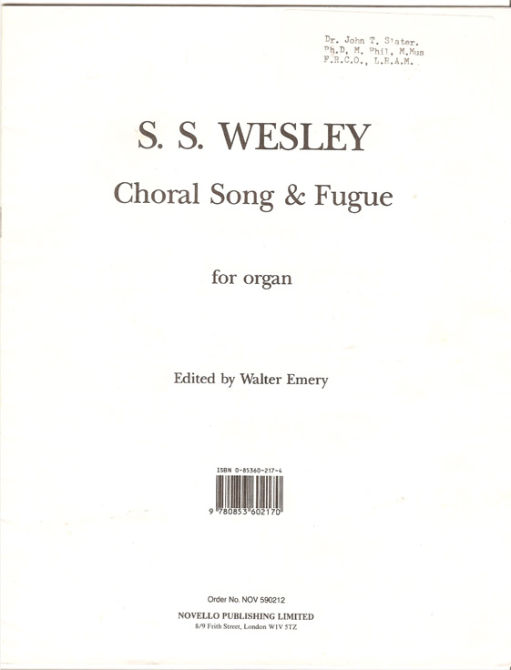 Image for Choral Song and Fugue for Organ