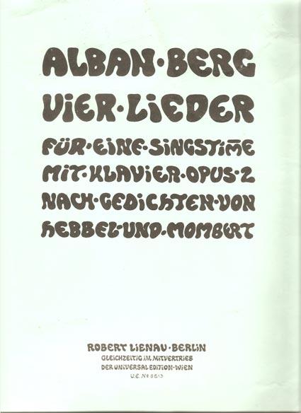 Image for Vier Lieder Fur Eine Singstimme Mit Klavier. Opus 2. Nach Gedichten Von Hebbel Und Mombert