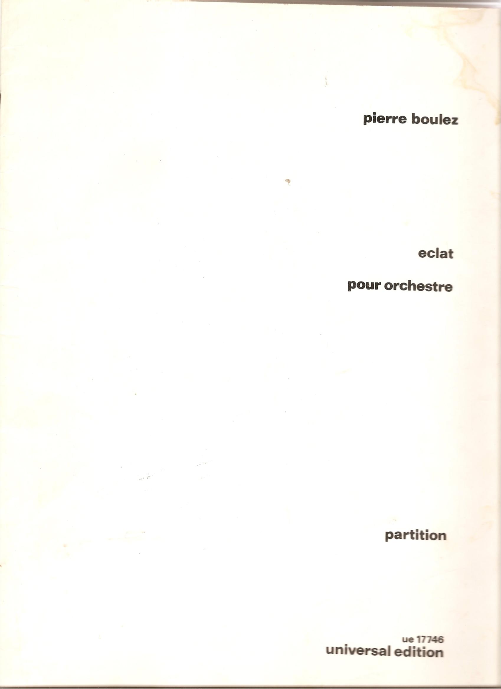 Image for Eclat Pour Orchestre