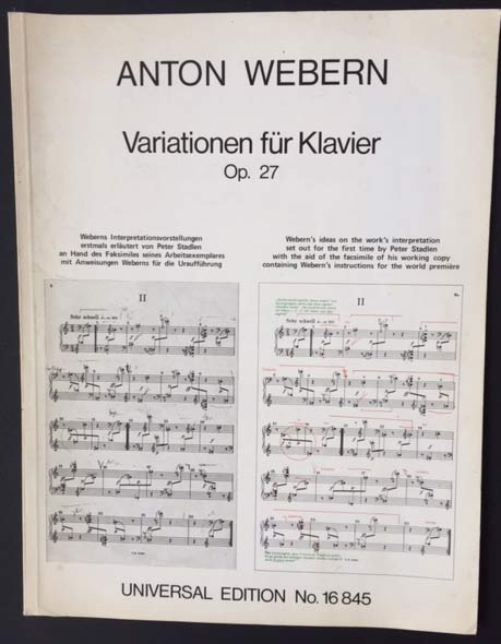 Image for Variationen Fr Klavier. Op. 27. Webern's Ideas on the Work's Interpretation Set out for the First Time by Peter Stadlen with the Aid of the Facsimile of His Working Copy Containing Webern's Instructions for the World Premiere.