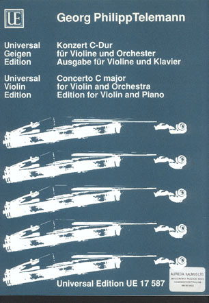 "Image for Konzert C-Dur Für Violine und Orchester. Ausgabe Für Violine und Klavier. (Concerto in C Major for Violin and Orchestra (Ouverture to the Opera ""The Modern Lover Damon"")"