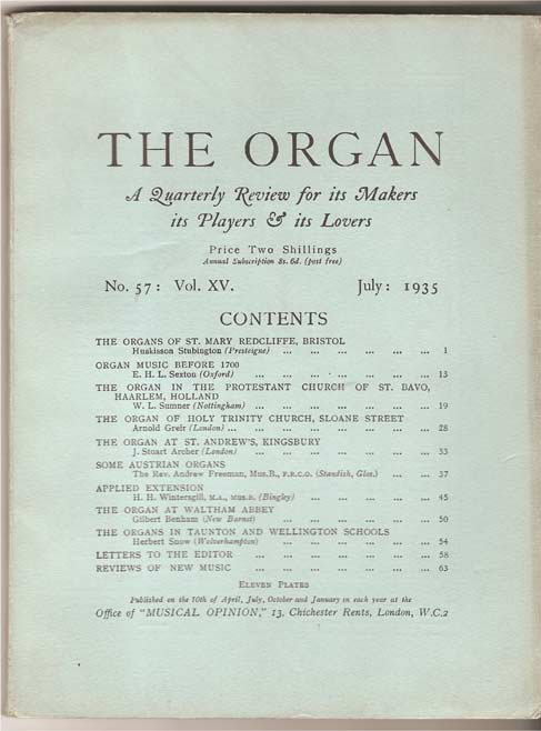 Image for The Organ: A Quarterly Review for its Makers, its Players & its Lovers Vol XV 1935/6