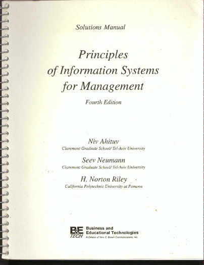 Image for Principles of Information Systems for Management: Solutions Manual