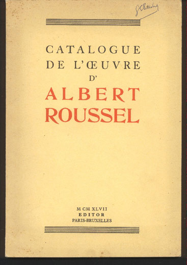 Image for Catalogue De L'Oeuvre D' Albert Roussel
