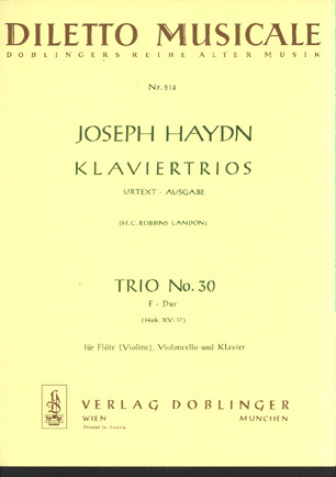 Image for Klaviertrio No 30 in F Major for Flute (Violin) , Violoncello & Klavier Hob XV: 17