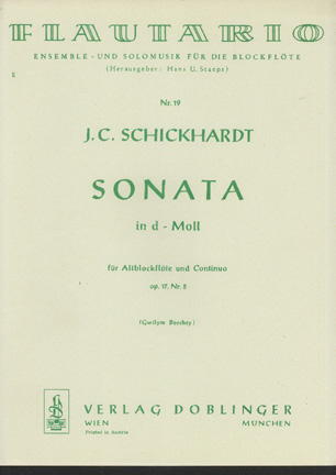 Image for Sonata D-Moll Op 17 No 2 Fur Altblockflote Und Continuo (D Minor for Treble Recorder)