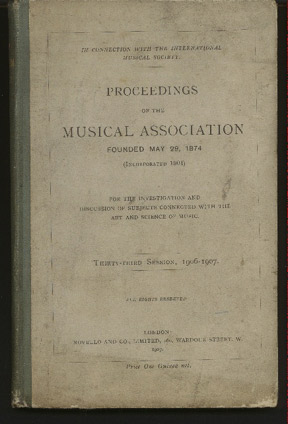 Image for Proceedings of the Musical Association: Thirty-Third Session, 1906/7