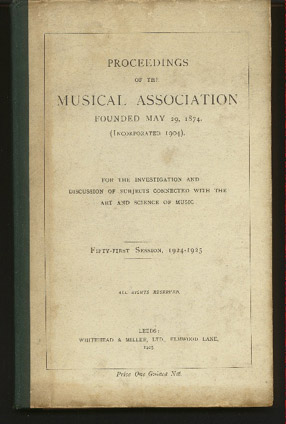 Image for Proceedings of the Musical Association: Fifty First Session, 1924/25