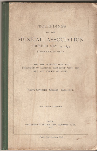 Image for Proceedings of the Musical Association Forty-Seventh Session, 1920/1