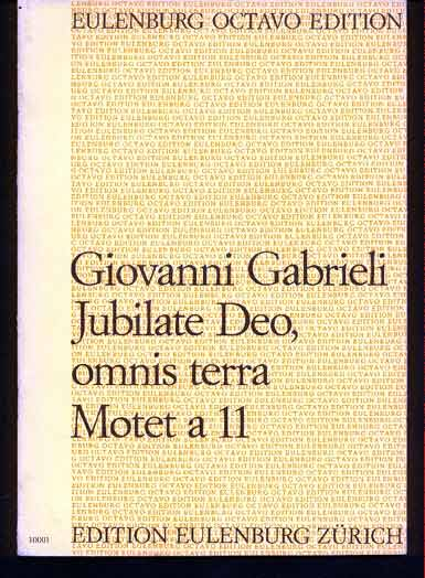 Image for Jubilate Deo, Omnis Terra Motet a 11 - Aus Symphoniae Sacrae