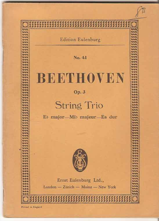 Image for String Trio: Eb Major Op 3