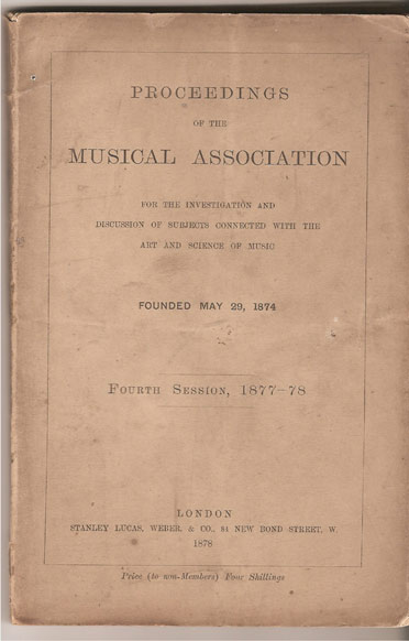 Image for Proceedings of the Musical Association Fourth Session, 1877-78