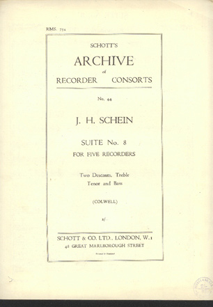 Image for Suite No 8 for Five Recorders, Two Descants, Treble, Tenor and Bass