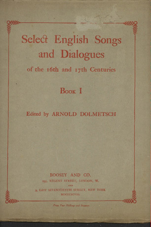 Image for Select English Songs and Dialogues of the 16th and 17th Centuries. Book L