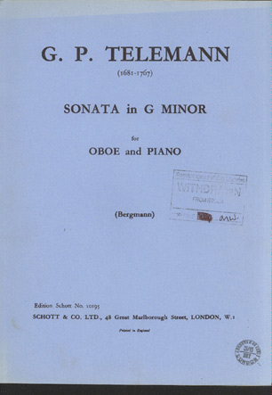 Image for Sonata in G Minor for Oboe and Piano