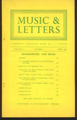 Image for Music & Letters. A Quarterly Publication Volume 45
