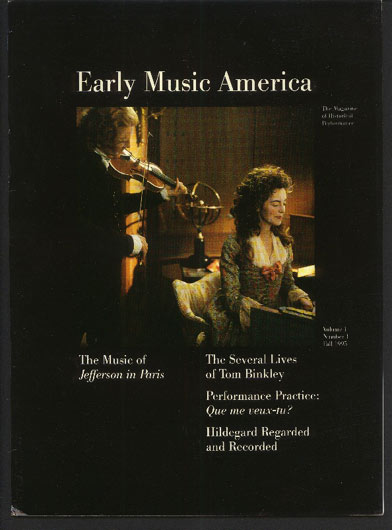 Image for Early Music America. The Magazine of Historical Performance Volume I