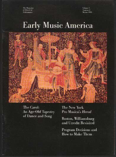Image for Early Music America the Magazine of Historical Performance Volume I