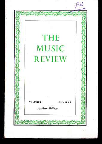 Image for The Music Review. Volume 1 Number 2
