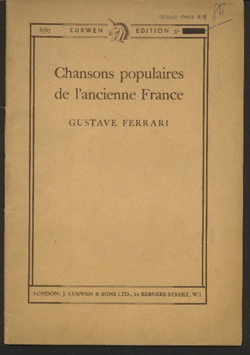 Image for Chansons Populaires De L'Ancienne France. Edited for Voice and Piano