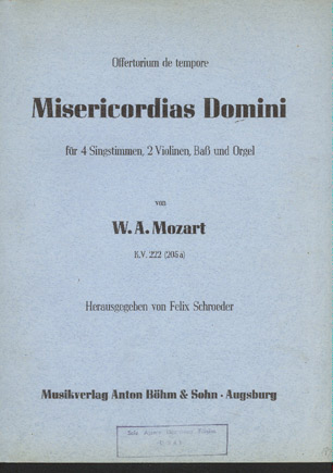 Image for Misericordias Domini Für 4 Singstimmen, 2 Violinen, Baß Und Orgel