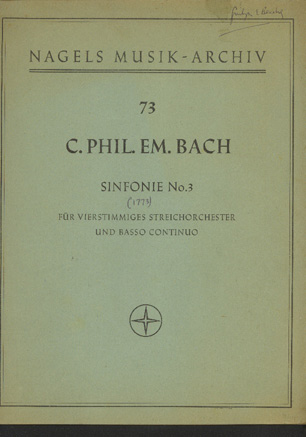 Image for Sinfonie No 3 Fur Vierstimmiges Streichorchester Und Basso Continuo