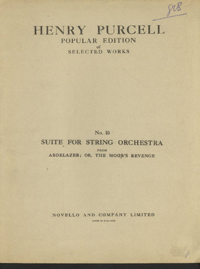 Image for Suite for String Orchestra. from Abdelazer; or the Moor's Revenge