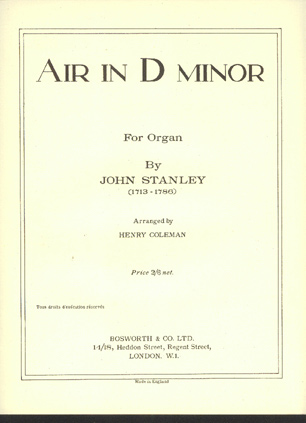 Image for Air in D Minor for Organ