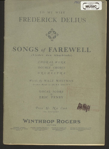 Image for Songs of Farewel (Lieder Des Abschieds)  Choral Work for Double Chorus and Orchestra. Words by Walt Whitman, Vocal Score by Eric Fenby