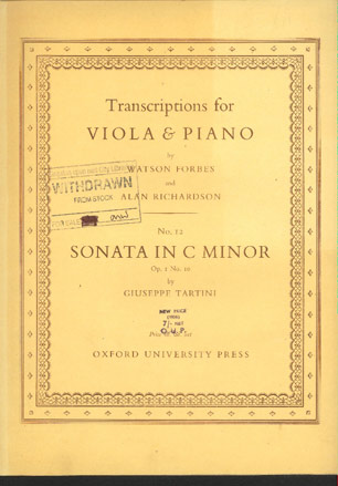 Image for Sonata in C Minor Op 1 No 10. for Viola and Piano Transcribed by Watson Forbes and Alan Richardson