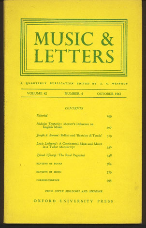 Image for Music & Letters. A Quarterly Publication Volume 42 Number 4, October 1961