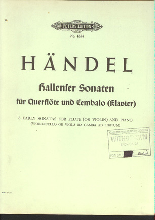 Image for Hallenser Sonaten Fur Querflote (Violine) Und Bezifferten Bass. (3 Early Sonatas for Flute (Or Violin)